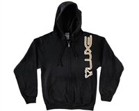 DLX Zip-Up Hooded Sweatshirt - Luxe - Black/Tan