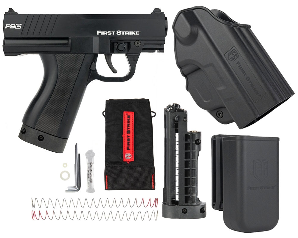 First Strike Compact Paintball Marker Pistol w/ FREE Holster & Magazine  Pouch - Black
