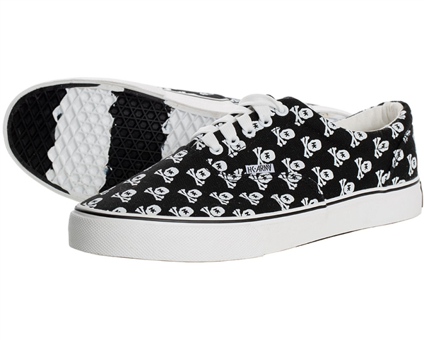HK  Army Canvas Sneaker Shoes - HK Skull - Black/White