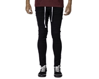 HK Army Slim-Skinny Style Denim Jeans - Jet Black