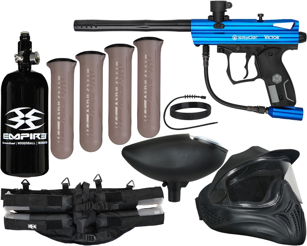 Kingman Spyder Victor Legendary Paintball Gun Kit Gloss Blu