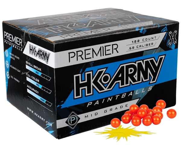 HK Army .68 Caliber Paintballs - Premier - Yellow Fill - 100 Rounds