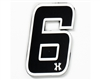 HK Army Rubber/Velcro Patch - Number 6 - Black