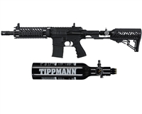 Tippmann TMC Paintball Rifle w/ Gas Thru Adjustable Stock & FREE 13/3000 Tank - Black/Black