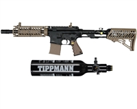 Tippmann TMC Paintball Rifle w/ Gas Thru Adjustable Stock & FREE 13/3000 Tank - Black/Tan
