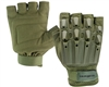 Valken Alpha Half Finger Plastic Back Paintball Gloves - Olive