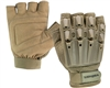 Valken Alpha Half Finger Plastic Back Paintball Gloves - Tan