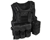 Warrior Molle Tactical Vest w/ Attachments - Black