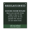 Metal Sign - Alcatraz Regulation 33