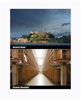 "lenticular Postcard Alcatraz Island and cell corridor  "" Broadway"""