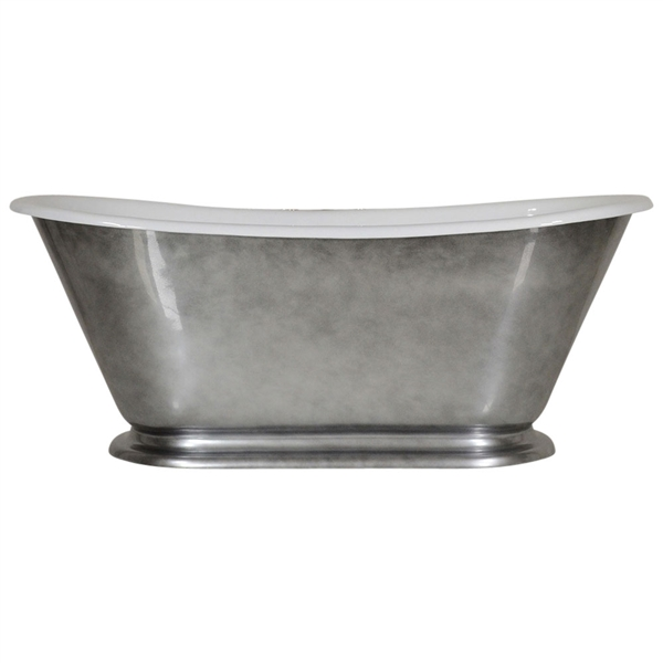 "'The Gigi-Whitby-60' 60"" Cast Iron Petite French Bateau Tub with Aged Chrome Exterior and Drain"