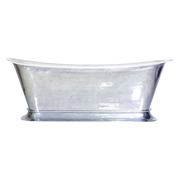 "'The Bordeaux-PZ-73' 73"" Cast Iron Chariot Tub with PURE METAL Polished Zinc Exterior and Drain"