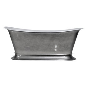 "'The Bordeaux-67-AC' 67"" Cast Iron Chariot Tub with Aged Chrome Exterior and Drain"