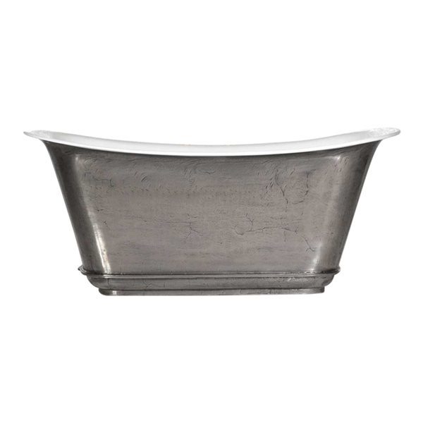 "'The Charroux-59-SS' 59"" Cast Iron Chariot Tub with Stainless Steel Exterior and Drain"