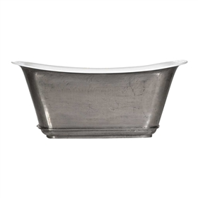 "'The Charroux-67-SS' 67"" Cast Iron Chariot Tub with Stainless Steel Exterior and Drain"