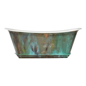 "'The Charroux-73-VC' 73"" Cast Iron Chariot Tub with PURE METAL Verdigris Copper Exterior and Drain"