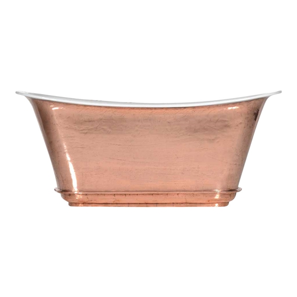 "'The Charroux-67-PC' 67"" Cast Iron Chariot Tub with PURE-METAL Polished Copper Exterior and Drain"