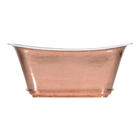 "'The Charroux-73-PC' 73"" Cast Iron Chariot Tub with PURE-METAL Polished Copper Exterior and Drain"