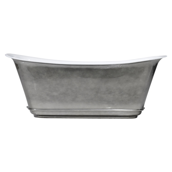 "'The Charroux-67-AC' 67"" Cast Iron Chariot Tub with Aged Chrome Exterior and Drain"