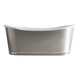 "'The Edington73' 73"" Cast Iron French Bateau Tub with Burnished Stainless Steel Exterior with Mirror Polished Rogeat Base and Drain"