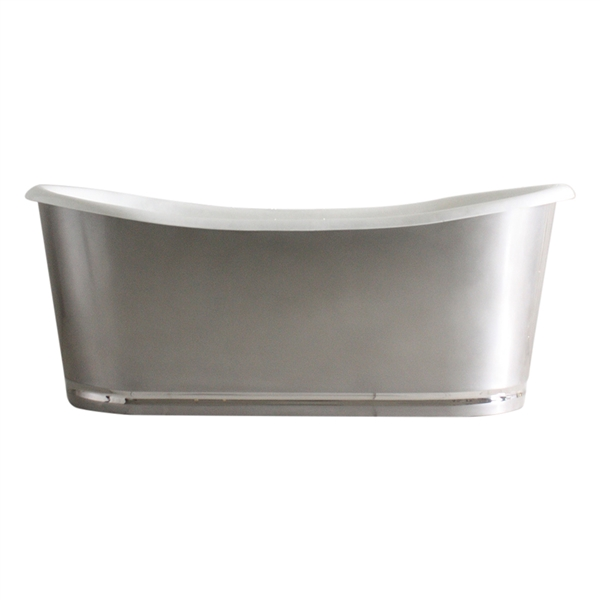 "<br>'The Edington-73' 73"" Cast Iron French Bateau Tub with Burnished Stainless Steel Exterior with Mirror Polished Rogeat Base plus Drain<BR>"
