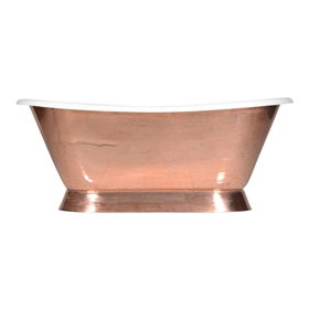 "'The Furness-PC-66' 66"" Cast Iron French Bateau Tub with PURE METAL Polished Copper Exterior and Drain"