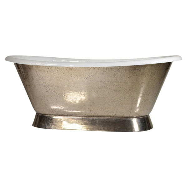 "'The Furness-PN-66' 66"" Cast Iron French Bateau Tub with PURE-METAL Polished Nickel Exterior"