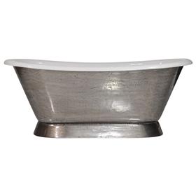 "'The Furness-StainlessSteel66' 66"" Cast Iron French Bateau Tub with PURE METAL Stainless Steel Exterior and Drain"