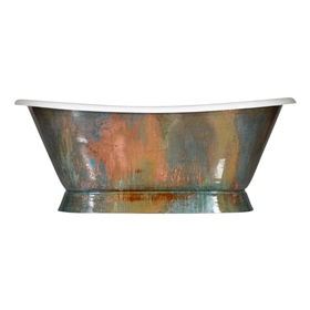 "Pure Metal Verdigris Copper 'Furness-66-VC' 66"" Cast Iron Plinth Bateau Tub and Drain"