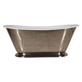"'The Gigi-Nickel60' 60"" Cast Iron Petite Bateau Tub with PURE METAL Polished Nickel Exterior and Drain"