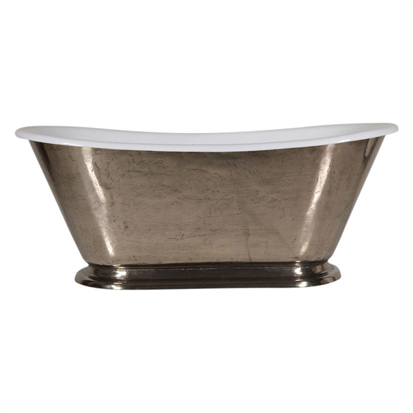 "'The Gigi-Nickel60' 60"" Cast Iron Petite French Bateau Tub"