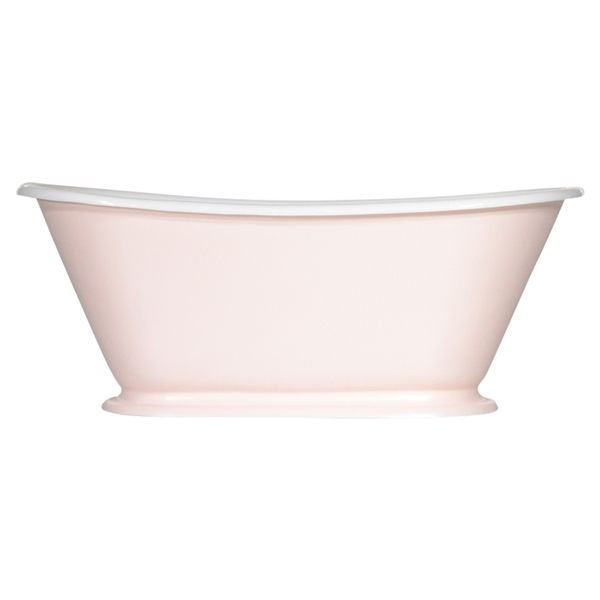 "<br>'The Gigi-White60' 60"" Cast Iron Petite French Bateau Tub with High Gloss White Exterior and Drain"