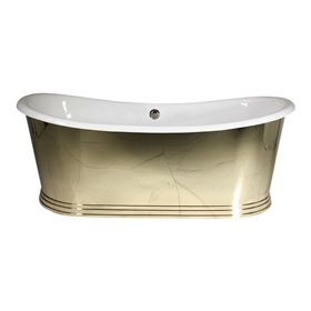 "'The Holyrood68' 68"" Cast Iron French Bateau Tub with Mirror Polished Solid Brass Exterior and Drain"