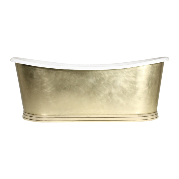 "'The Ladykirk73' 73"" Cast Iron French Bateau Tub with Mixed Finish Solid Brass Exterior plus Drain"