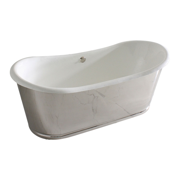 "<br>'The Lindisfarne OLD68' 68"" Cast Iron French Bateau Tub with Mirror Polished Stainless Steel Exterior with Rogeat Base plus Drain<BR>"