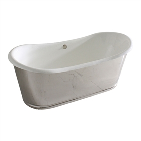 "'The Lindisfarne 73' 73"" Cast Iron French Bateau Tub with Mirror Polished Stainless Steel Exterior with Rogeat Base and Drain"