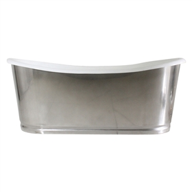 "'The Nuneaton-73' 73"" Cast Iron French Bateau Tub with Misty Polished Stainless Steel Exterior with Rogeat Base plus Drain"
