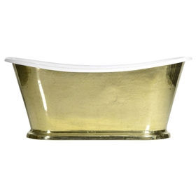 "'The Paris-Brass73' 73"" Cast Iron French Bateau Tub with PURE METAL Polished Brass Exterior and Drain"