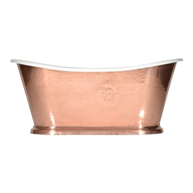 "'The Paris-Copper73' 73"" Cast Iron French Bateau Tub with PURE METAL Polished Copper Exterior and Drain"
