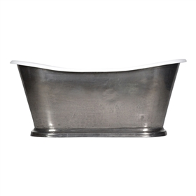 "'The Paris-StainlessSteel67' 67"" Cast Iron French Bateau Tub with PURE METAL Stainless Steel Exterior and Drain"