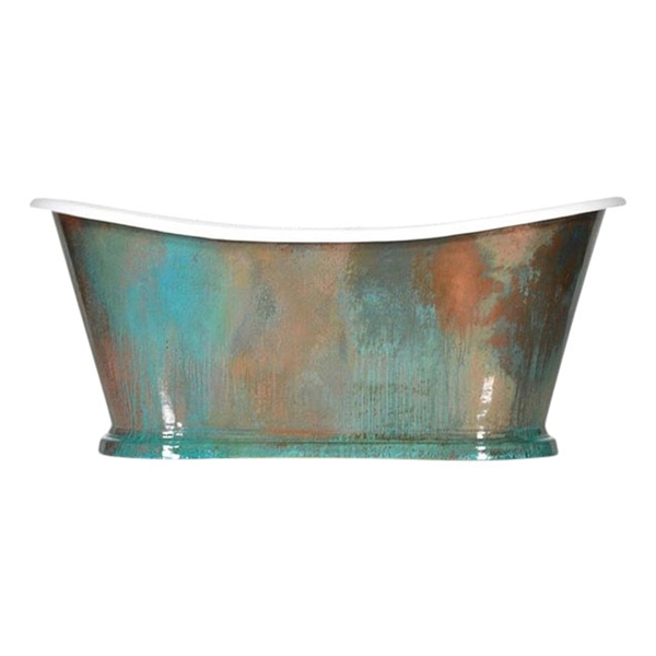 "'The Paris-73-VC' 73"" Cast Iron French Bateau Tub with PURE METAL Verdigris Copper Exterior and Drain"