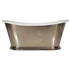 "<br>'The Paris-Nickel73' 73"" Cast Iron French Bateau Tub with PURE METAL Polished Nickel Exterior and Drain"