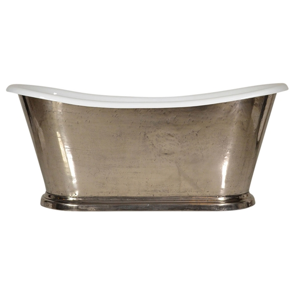 "'The Paris-Nickel73' 73"" Cast Iron French Bateau Tub with PURE METAL Polished Nickel Exterior and Drain"