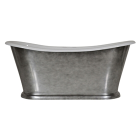"'The Paris-Whitby-67' 67"" Cast Iron French Bateau Tub with Aged Chrome Exterior and Drain"
