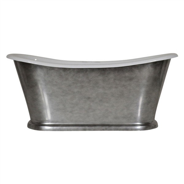 "'The Paris-Whitby-73' 73"" Cast Iron French Bateau Tub with Aged Chrome Exterior and Drain"