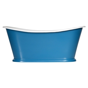 "<br>'The Paris-White67' 67"" Cast Iron French Bateau Tub with High Gloss White Exterior and Drain"