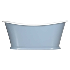 "<br>'The Paris-White73' 73"" Cast Iron French Bateau Tub with High Gloss White Exterior and Drain"