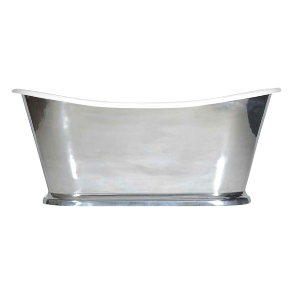 "'The Toulouse73' 73"" Cast Iron French Bateau Tub with Mirror Polished Zinc Exterior and Drain"
