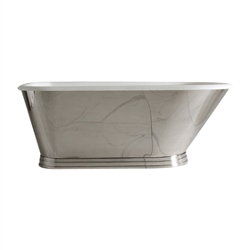 "'The Tutbury' 66"" Cast Iron Classic Tub with Mirror Polished Stainless Steel Exterior with Penhaglion Step Base and Drain"