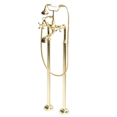<br>Penhaglion No.97 Free Standing Tub Filler in Unvarnished Polished Brass